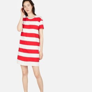 Everlane Box Cut Tee Dress Red and White Stripe L